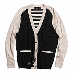 COACH MERINO PATCHED BAR STRIPE BOYFRIEND CARDIGAN - BLACK/MULTICOLOR - F84790