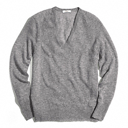 CASHMERE FINE GAUGE V-NECK - LIGHT GREY - COACH F84807