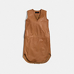 COACH LEATHER SLOUCHY SUMMER V-NECK DRESS - CAMEL - F84808