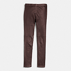LEATHER STRETCH PENCIL PANT - BRICK - COACH F84823