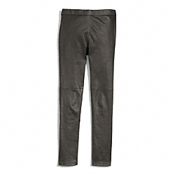 COACH LEATHER STRETCH PENCIL PANT - GRAY - F84823