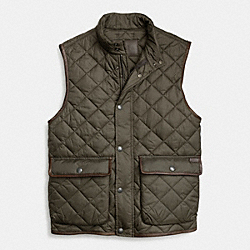 COACH QUILTED HACKING VEST - OLIVE - F84856
