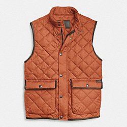 COACH QUILTED HACKING VEST - ORANGE - F84856