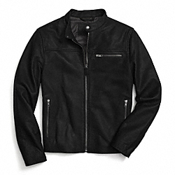 LEATHER RACER JACKET - BLACK - COACH F84861