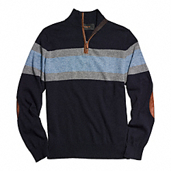 COACH STRIPED HALF ZIP WOOL PULLOVER - NAVY/DENIM - F84867