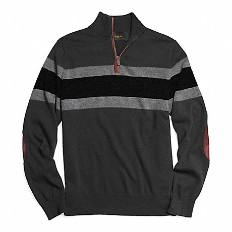 COACH STRIPED HALF ZIP WOOL PULLOVER - CHARCOAL/BLACK - f84867