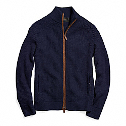 COACH 2 WAY ZIP WOOL RIBBED CARDIGAN - NAVY - F84964