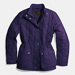 DIAMOND QUILTED HACKING JACKET - BLACK VIOLET - COACH F84993
