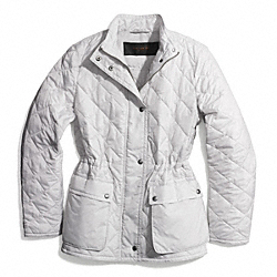 DIAMOND QUILTED HACKING JACKET - OYSTER - COACH F84993