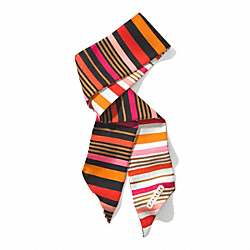 COACH HADLEY MULTI STRIPE PONYTAIL SCARF - PINK MULTICOLOR - F85003