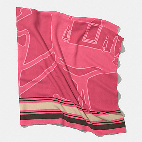 COACH HORSE AND CARRIAGE OVERSIZED SQUARE SCARF -  LOGANBERRY - f85010