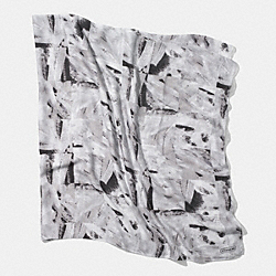 ABSTRACT PAINTED OVERSIZED SQUARE SCARF - BLACK/WHITE MULTI - COACH F85019