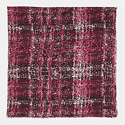 COACH PRINTED TWEED OVERSIZED SQUARE SCARF - BORDEAUX - F85020