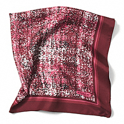 PRINTED TWEED 27X27 SCARF - BORDEAUX - COACH F85022