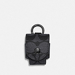EARBUD CASE BAG CHARM IN SIGNATURE CANVAS - QB/CHARCOAL - COACH F85025