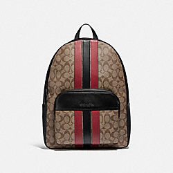 HOUSTON BACKPACK IN SIGNATURE CANVAS WITH VARSITY STRIPE - QB/TAN/SOFT RED/BLACK - COACH F85036