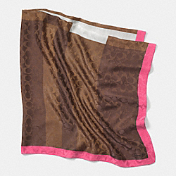 COACH COLORBLOCK INTARSIA JACQUARD 44x44 SCARF - BRINDLE/LOGANBERRY - F85051