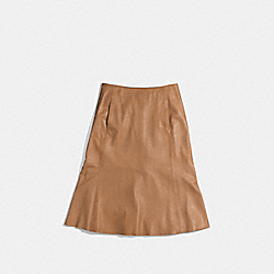 COACH LEATHER FLARED SKIRT - SOFT CAMEL - F85054