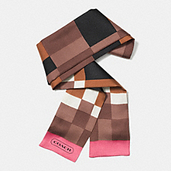 COLORBLOCK INTARSIA PONYTAIL SCARF - BRINDLE/LOGANBERRY - COACH F85055