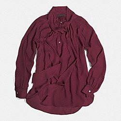 COACH SILK LONG SLEEVE PRETTY BLOUSE - OXBLOOD - F85058
