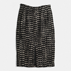COACH TWEED SPLIT FRONT SKIRT - MILK - F85060