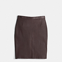 LEATHER PULL-ON SKIRT - BRICK - COACH F85067