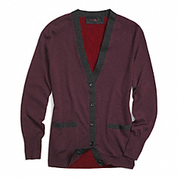 COACH MERINO COLORBLOCK CARDIGAN - OXBLOOD - F85069