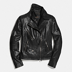 COACH SLIM LEATHER MOTO JACKET - BLACK - F85080