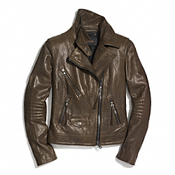 COACH SLIM LEATHER MOTO JACKET - DUSTY OLIVE - F85080