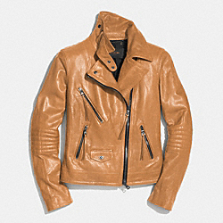 COACH SLIM LEATHER MOTO JACKET - SADDLE - F85080