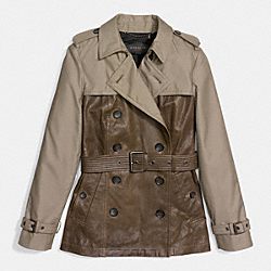 LEATHER MIXED MATERIALS SLIM TRENCH - f85081 - OLIVE GREY