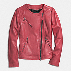 COACH COLLARLESS LEATHER JACKET - LOGANBERRY - F85089