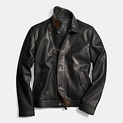 COACH LEATHER EISENHOWER JACKET - BLACK - F85098