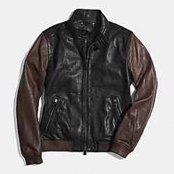 COACH COLORBLOCK LEATHER BARRACUDA JACKET - BLACK/MAHOGANY - F85102