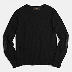 SOLID CAMEL HAIR  CREWNECK  SWEATER - BLACK - COACH F85104