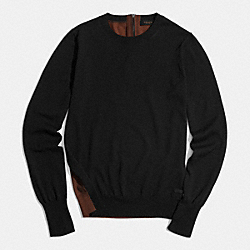 COACH MERINO COLORBLOCK CREW SWEATER - BLACK/OAK - F85111