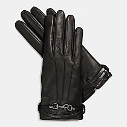 LEATHER DOGLEASH GLOVE - BLACK - COACH F85112