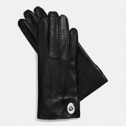 LEATHER TURNLOCK GLOVE - BLACK - COACH F85124