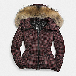 GINGHAM CHECK SHORT DOWN COAT WITH FUR TRIM - f85130 - BROWN/BLACK