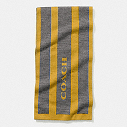 STRIPED SIGNATURE JACQUARD KNIT SCARF - YELLOW/GRAY - COACH F85132