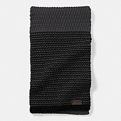 COACH CHECK KNIT SCARF - CHARCOAL/BLACK - F85133