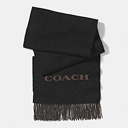 BICOLOR CASHMERE BLEND WOVEN SCARF - BLACK/BROWN - COACH F85134
