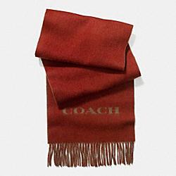 COACH BICOLOR CASHMERE BLEND WOVEN SCARF - RUST/CAMEL - F85134