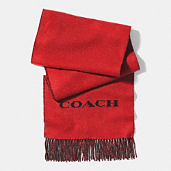 COACH BICOLOR CASHMERE BLEND WOVEN SCARF - RED/BLACK - F85134