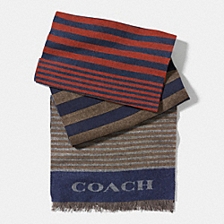 COACH VARIEGATED STRIPE WOVEN SCARF - RUST/GREY - F85135