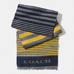 COACH VARIEGATED STRIPE WOVEN SCARF - GREY/BANANA - F85135