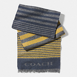 COACH VARIEGATED STRIPE WOVEN SCARF - YELLOW/BLUE - F85135