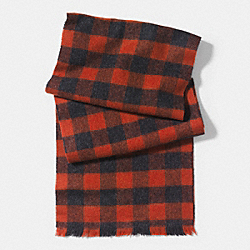 COACH BUFFALO CHECK WOVEN SCARF - RUST MULTI - F85137