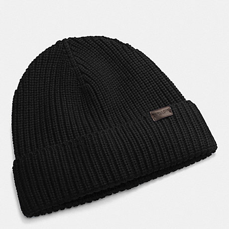 COACH RIB KNIT HAT - BLACK - f85140