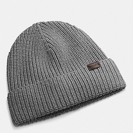 COACH RIB KNIT HAT - GRAY - f85140